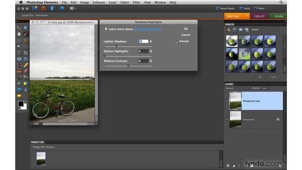 Applying a Shadows/Highlights adjustment: Photoshop Elements 8 for Mac Essential Training