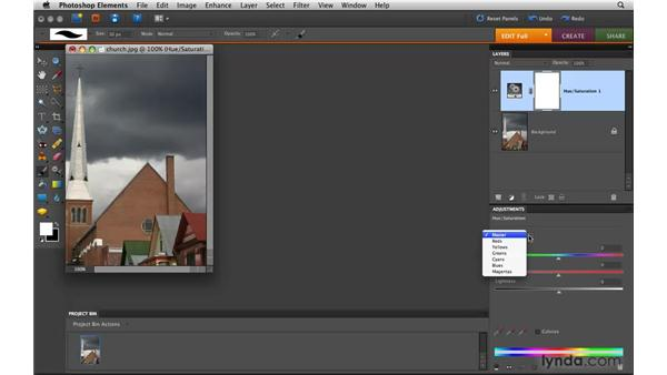 Adding a Hue/Saturation adjustment layer: Photoshop Elements 8 for Mac Essential Training