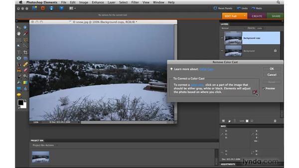 Removing a color cast: Photoshop Elements 8 for Mac Essential Training