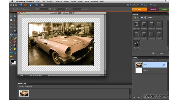 Using layer styles: Photoshop Elements 8 for Mac Essential Training
