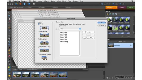 Stitching a photo panorama: Photoshop Elements 8 for Mac Essential Training