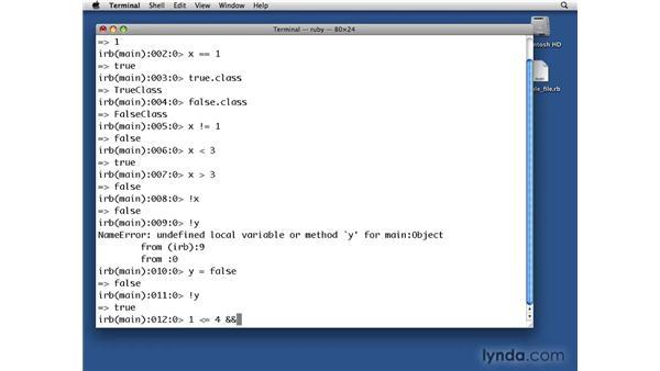 Booleans: Ruby Essential Training