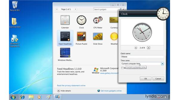 Keeping information at your fingertips with desktop gadgets: Windows 7 Essential Training
