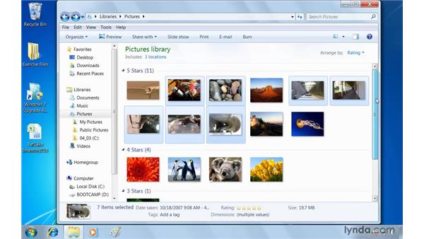 Organizing and sharing photos in Windows Explorer: Windows 7 Essential Training