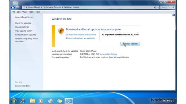 Keeping your PC secure with Windows Update: Windows 7 Essential Training