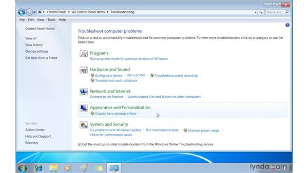 Finding issues in the Troubleshooting control panel: Windows 7 Essential Training