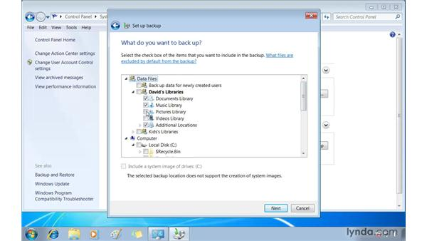 Backing up folders and drives: Windows 7 Essential Training