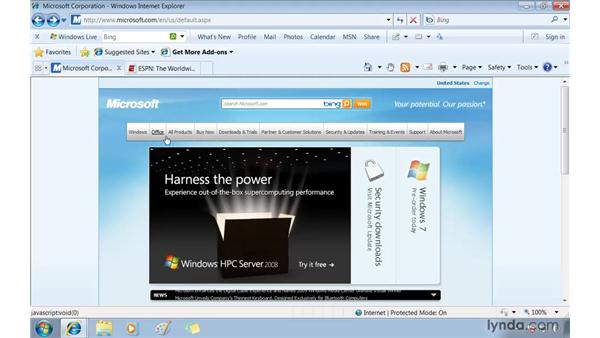 Displaying similar sites with Suggested Sites: Windows 7 Essential Training