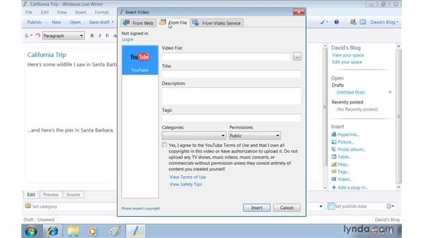 Keeping a blog with Windows Live Writer: Windows 7 Essential Training