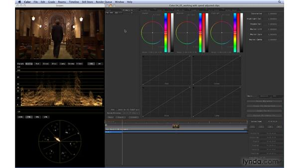 Working with speed-adjusted clips: Color 1.5 Essential Training