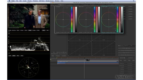 Correcting underexposed footage with the Color Balance controls: Color 1.5 Essential Training