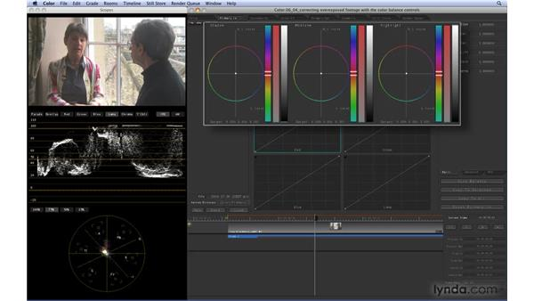 Correcting overexposed footage with the Color Balance controls: Color 1.5 Essential Training