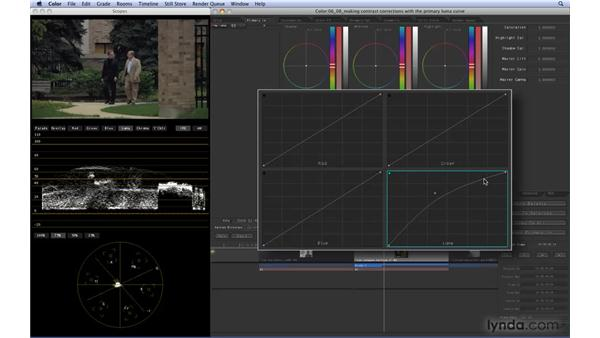 Making contrast corrections with the Primary Luma curve: Color 1.5 Essential Training