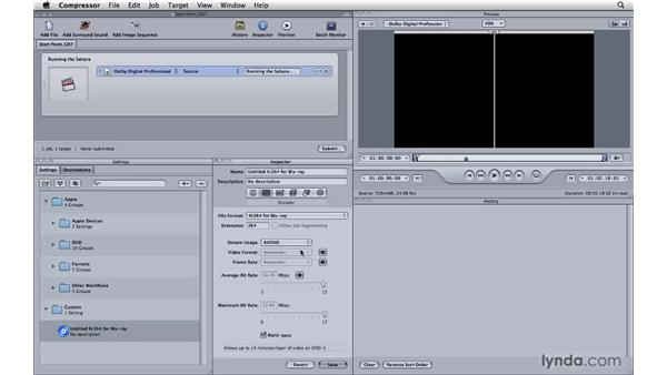Creating H.264s from Compressor for Blu-ray: Compressor 3.5 Essential Training