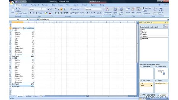 Introducing PivotTable reports: Excel 2007: Pivot Tables for Data Analysis