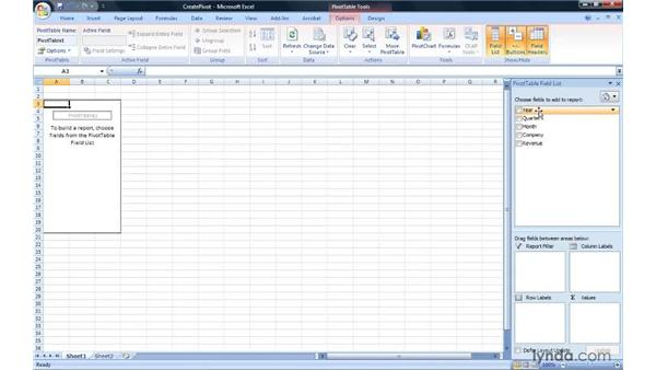 Creating a PivotTable report: Excel 2007: Pivot Tables for Data Analysis