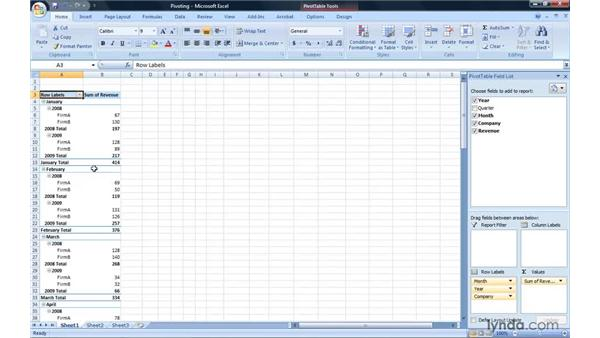 Pivoting a PivotTable report: Excel 2007: Pivot Tables for Data Analysis