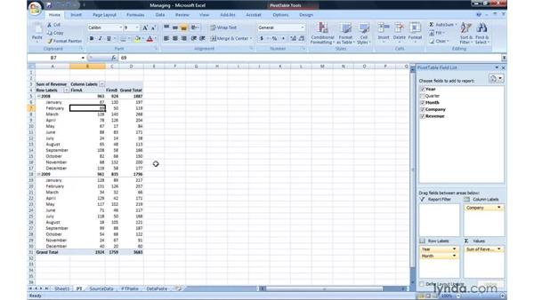 Managing PivotTables: Excel 2007: Pivot Tables for Data Analysis
