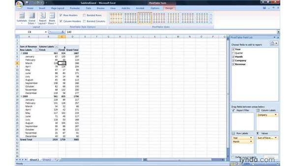 Adding, removing, and positioning subtotals and grand totals: Excel 2007: Pivot Tables for Data Analysis