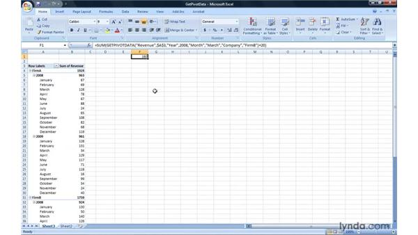 Using PivotTable data in a formula: Excel 2007: Pivot Tables for Data Analysis