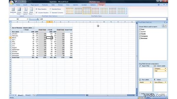 Applying a style: Excel 2007: Pivot Tables for Data Analysis