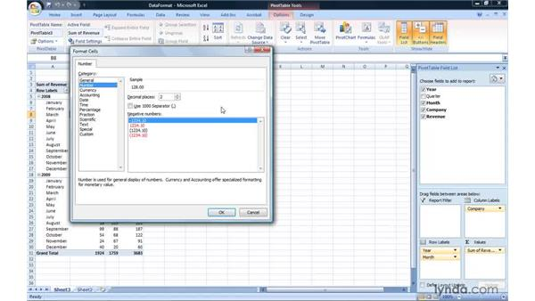 Changing the data field number format: Excel 2007: Pivot Tables for Data Analysis