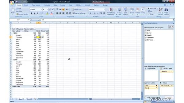 Highlighting the top or bottom value in a report: Excel 2007: Pivot Tables for Data Analysis