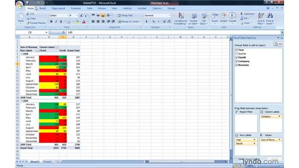 Deleting conditional formatting rules: Excel 2007: Pivot Tables for Data Analysis