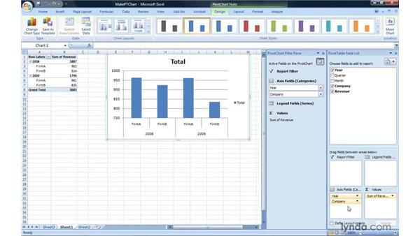 Creating a PivotChart report: Excel 2007: Pivot Tables for Data Analysis