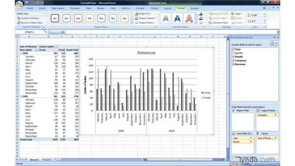 Formatting a PivotChart report: Excel 2007: Pivot Tables for Data Analysis