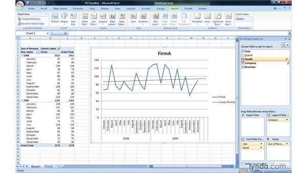 Adding a trendline: Excel 2007: Pivot Tables for Data Analysis