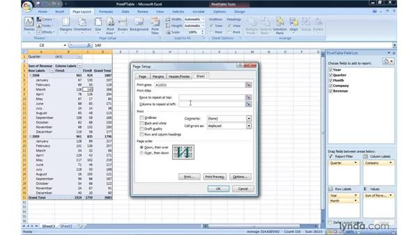 Printing a PivotTable report: Excel 2007: Pivot Tables for Data Analysis