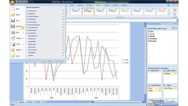 Printing a PivotChart report: Excel 2007: Pivot Tables for Data Analysis