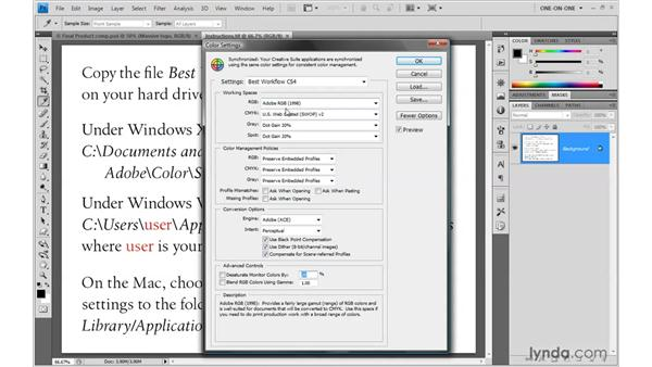 Loading the CS4 color settings in Photoshop and Bridge CS4: Photoshop Smart Objects