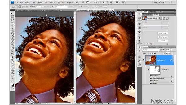 Establishing independent filter masks: Photoshop Smart Objects