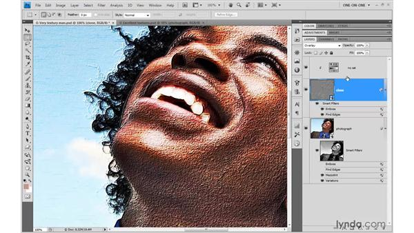 Adjusting and merging masked effects: Photoshop Smart Objects