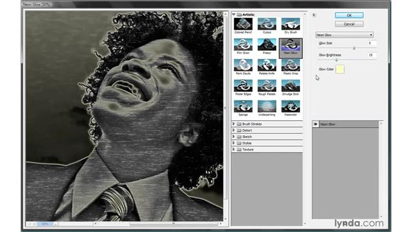 Applying a Filter Gallery filter: Photoshop Smart Objects