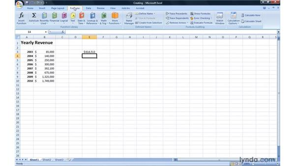 Creating a formula: Excel 2007: Introduction to Formulas and Functions