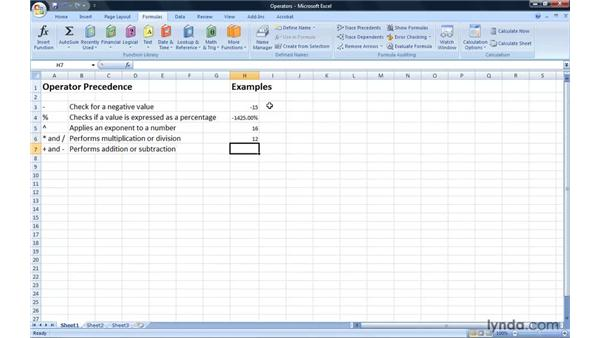 Introducing arithmetic operators: Excel 2007: Introduction to Formulas and Functions