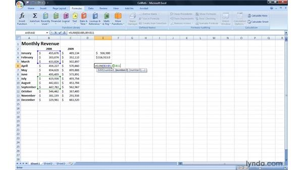 Using cell references in formulas: Excel 2007: Introduction to Formulas and Functions