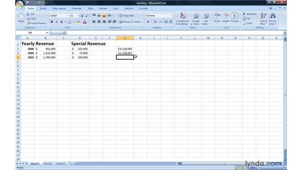 Creating a SUM or AVERAGE formula: Excel 2007: Introduction to Formulas and Functions