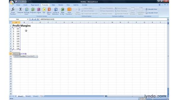 Creating MIN, MAX, MEDIAN, and MODE formulas: Excel 2007: Introduction to Formulas and Functions