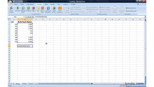 Creating formulas to count cells: Excel 2007: Introduction to Formulas and Functions