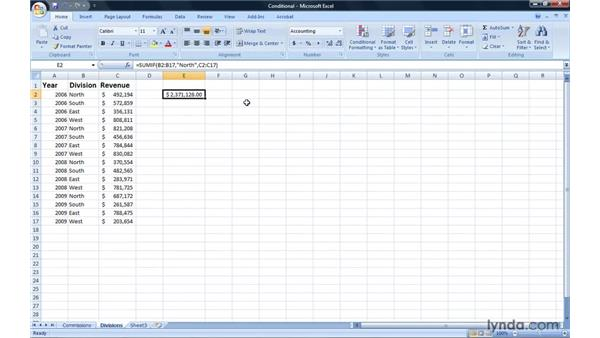 Creating formulas to summarize cells conditionally: Excel 2007: Introduction to Formulas and Functions