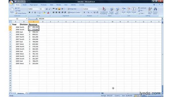 Summarizing data on the Status bar: Excel 2007: Introduction to Formulas and Functions