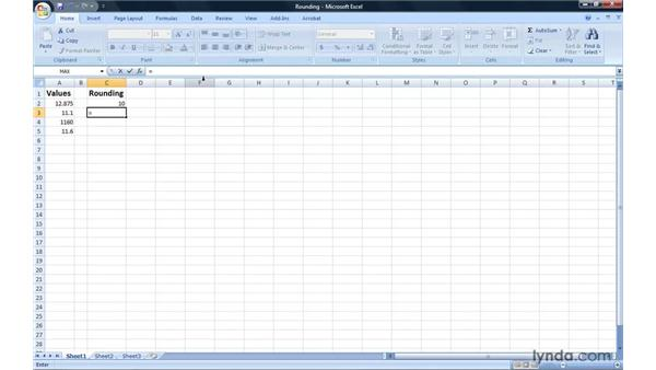Rounding cell values up and down: Excel 2007: Introduction to Formulas and Functions