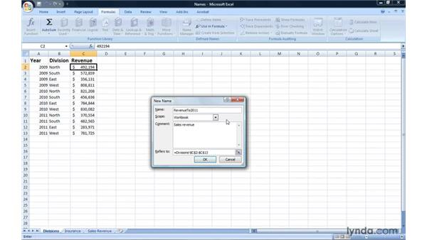 Summarizing data using named ranges: Excel 2007: Introduction to Formulas and Functions