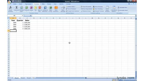 Creating a dynamic named range: Excel 2007: Introduction to Formulas and Functions