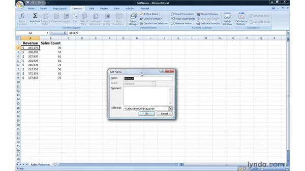 Editing and deleting named ranges: Excel 2007: Introduction to Formulas and Functions