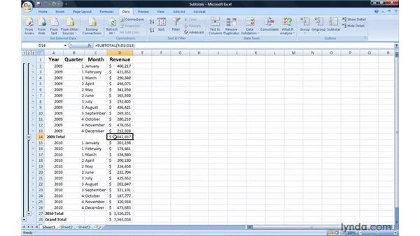 Summarizing list data by creating subtotals: Excel 2007: Introduction to Formulas and Functions